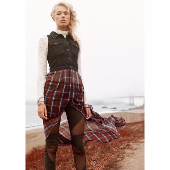 Nasty Gal Dresses & Skirts - Nasty Gal Shown To Scale Denim Plaid Snap Dress